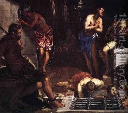 St Roch in Prison Visited by an Angel (detail 1) by Jacopo Tintoretto (Robusti) - Reproduction Oil Painting