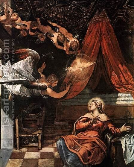 The Annunciation (detail) by Jacopo Tintoretto (Robusti) - Reproduction Oil Painting