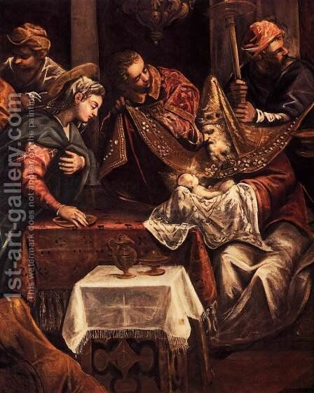 The Circumcision (detail) by Jacopo Tintoretto (Robusti) - Reproduction Oil Painting