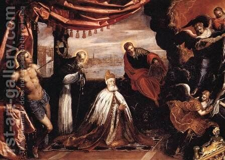 The Dead Christ Adored by Doges Pietro Lando and Marcantonio Trevisan (detail 1) by Jacopo Tintoretto (Robusti) - Reproduction Oil Painting