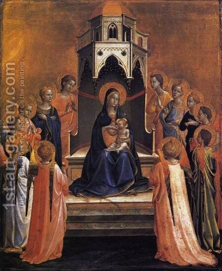 Virgin and Child Enthroned with Twelve Angels by Giotto Di Bondone - Reproduction Oil Painting