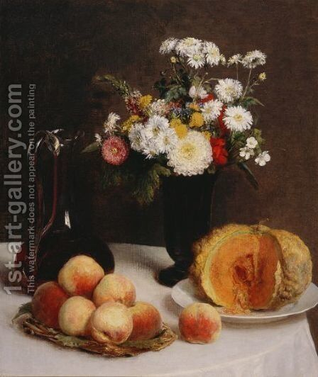 Still Life with a Carafe, Flowers and Fruit by Ignace Henri Jean Fantin-Latour - Reproduction Oil Painting