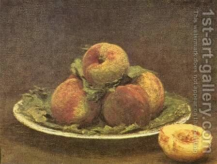 Still life with apricots by Ignace Henri Jean Fantin-Latour - Reproduction Oil Painting