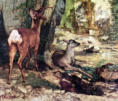 A Thicket of Deer at the Stream of Plaisir-Fountaine, Detail by Gustave Courbet - Reproduction Oil Painting