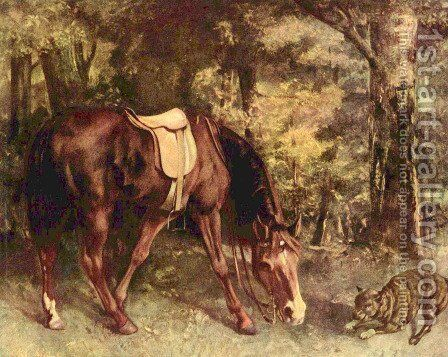 Horse in the forest by Gustave Courbet - Reproduction Oil Painting