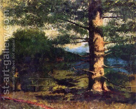 Landscape with tree by Gustave Courbet - Reproduction Oil Painting