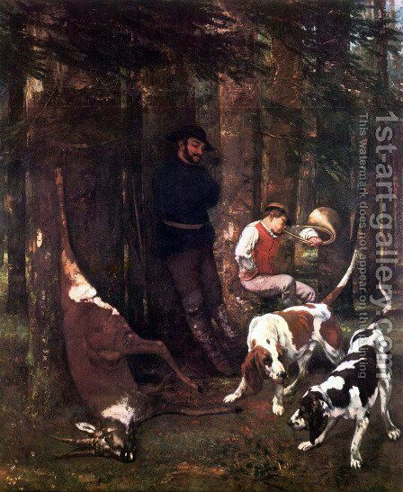 The booty (hunting with dogs) by Gustave Courbet - Reproduction Oil Painting