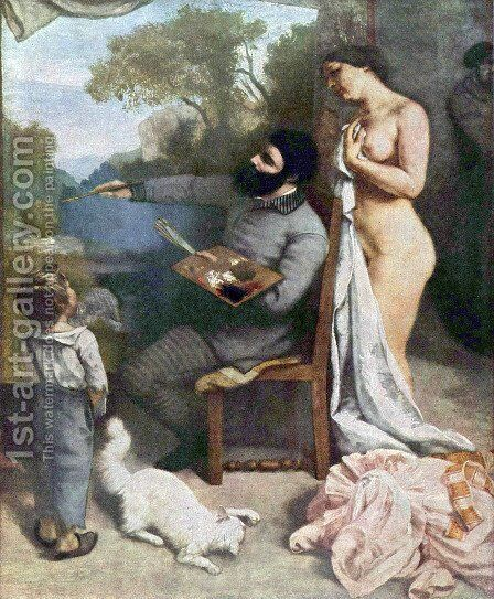 The painter's atelier, Detail by Gustave Courbet - Reproduction Oil Painting