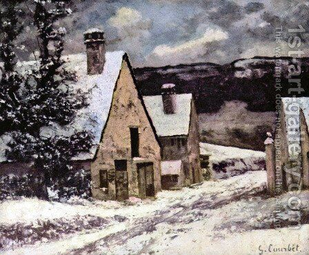 Village at winter by Gustave Courbet - Reproduction Oil Painting