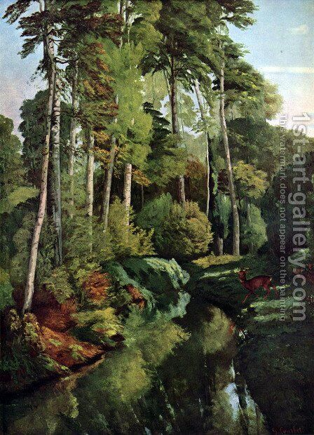 Waldbach with deer by Gustave Courbet - Reproduction Oil Painting