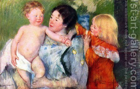 After bath by Mary Cassatt - Reproduction Oil Painting