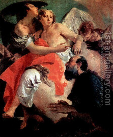Abraham and the angels counterpart, Hagar and Ismael by Giovanni Battista Tiepolo - Reproduction Oil Painting