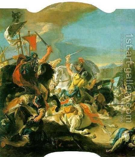 Battle of Vercellae by Giovanni Battista Tiepolo - Reproduction Oil Painting
