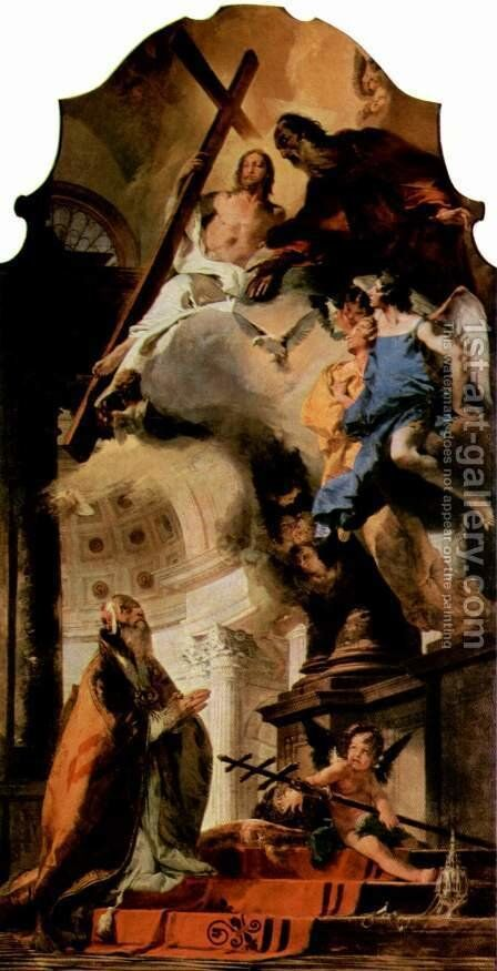 The Pope Clement I pray to the Holy Trinity by Giovanni Battista Tiepolo - Reproduction Oil Painting
