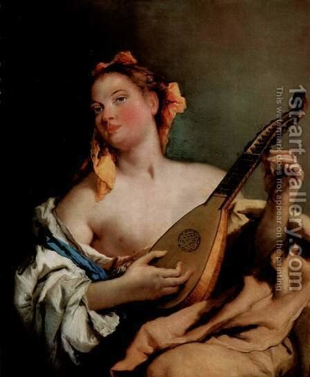 Young singer with a mandolin by Giovanni Battista Tiepolo - Reproduction Oil Painting