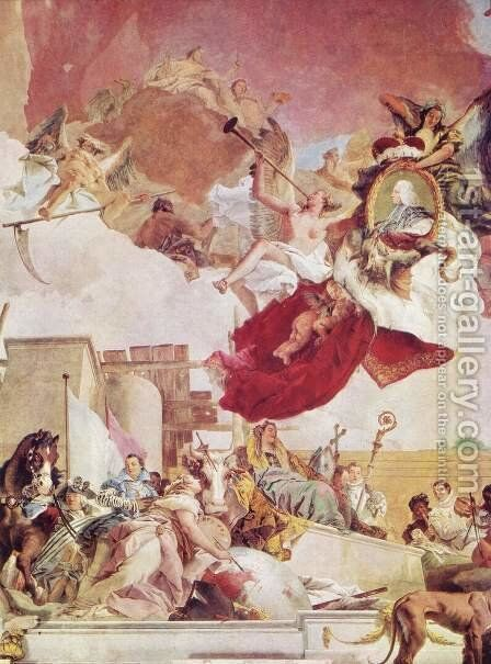Frescoes in the imperial hall of the Würzburger residence castle, cover fresco, scene, Europe by Giovanni Battista Tiepolo - Reproduction Oil Painting