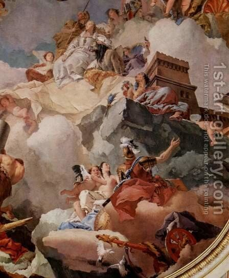 Frescoes in the Royal Palace of Madrid, scene, apotheosis of the Spanish royal family by Giovanni Battista Tiepolo - Reproduction Oil Painting