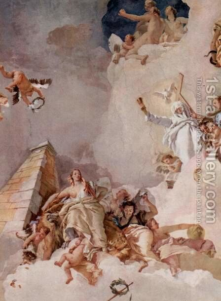 Frescoes in the Royal Palace of Madrid, scene, lauding Spain, detail 1 by Giovanni Battista Tiepolo - Reproduction Oil Painting