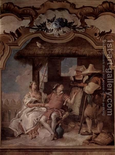 Frescoes in the Villa Vallmarana, Vicenca, Angelica and Medorus scene in the company of two farmers by Giovanni Battista Tiepolo - Reproduction Oil Painting