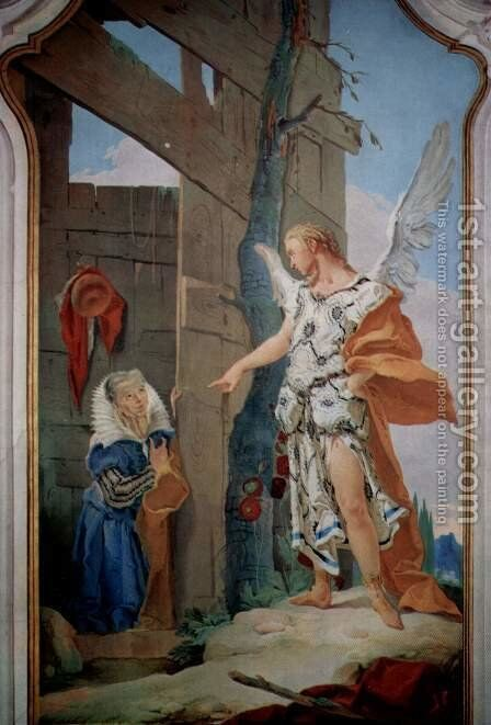Frescoes of biblical scenes in the bishop's palace of Undine, scene, the appearance of the angel bef by Giovanni Battista Tiepolo - Reproduction Oil Painting