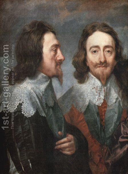 Charles I in Three Positions (detail 1) by Sir Anthony Van Dyck - Reproduction Oil Painting