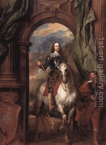 Portrait Karl I, king of England, to horse with his stable master Saint Antoine by Sir Anthony Van Dyck - Reproduction Oil Painting
