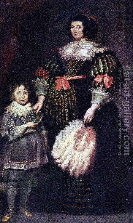 Portrait of Charlotte Butkens, mistress of Anoy, with her son by Sir Anthony Van Dyck - Reproduction Oil Painting