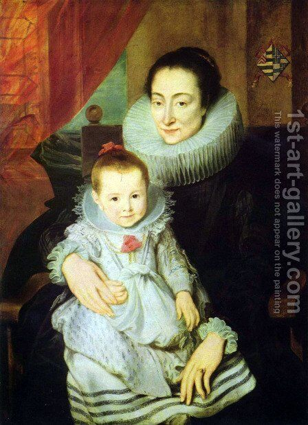 Portrait of Marie Clarisse, woman of Jan Woverius, with her child by Sir Anthony Van Dyck - Reproduction Oil Painting