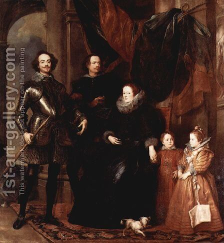 Portrait of the family Lomellini by Sir Anthony Van Dyck - Reproduction Oil Painting