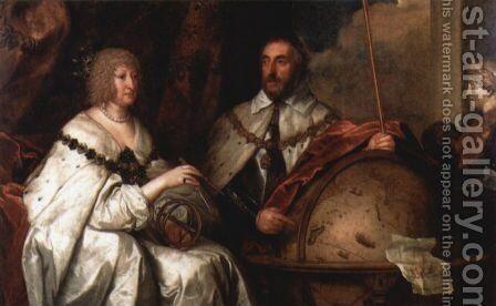 Portrait of Thomas Howard, count of Arundel and his wife Alathea Talbot by Sir Anthony Van Dyck - Reproduction Oil Painting