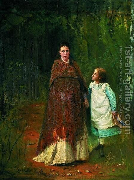 Portrait of the Artist's Wife and Daughter by Ivan Nikolaevich Kramskoy - Reproduction Oil Painting