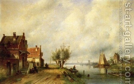 A River Landscape in Summer with Peasants Conversing by Old Houses along a Road, Moored Shipping by Charles Henri Joseph Leickert - Reproduction Oil Painting