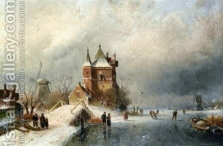 Skaters in Holland by Charles Henri Joseph Leickert - Reproduction Oil Painting
