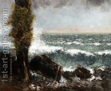 Seascape, the Poplar by Gustave Courbet - Reproduction Oil Painting