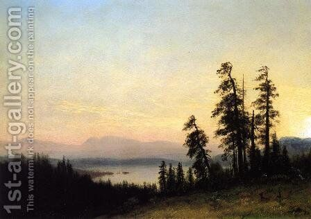 Landscape with Deer, View of Estes Park, Colorado by Albert Bierstadt - Reproduction Oil Painting