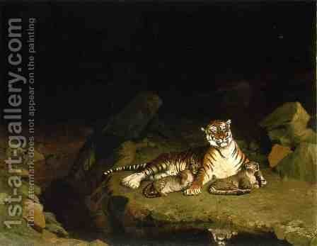 Tiger on the Lookout 2 by Jean-Léon Gérôme - Reproduction Oil Painting