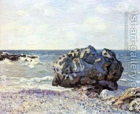 Bay of long country with rock by Alfred Sisley - Reproduction Oil Painting