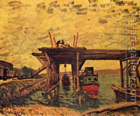 Bridge in Bau by Alfred Sisley - Reproduction Oil Painting