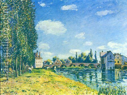 Bridge von Moret at Summer by Alfred Sisley - Reproduction Oil Painting
