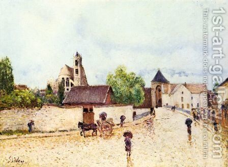 Moret am Loing im Regen by Alfred Sisley - Reproduction Oil Painting