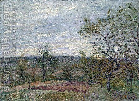 Windy Day at Veneux (also known as La campagne aux Environs de Veneux) by Alfred Sisley - Reproduction Oil Painting