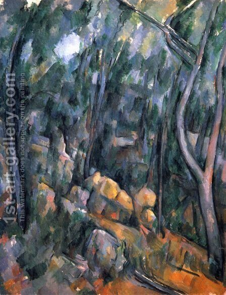 Forest with the rock caves above the Château Noir by Paul Cezanne - Reproduction Oil Painting