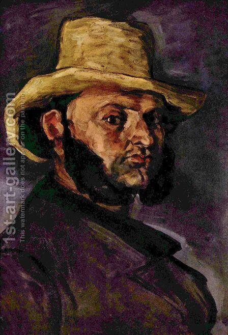 Man with the strohhut by Paul Cezanne - Reproduction Oil Painting