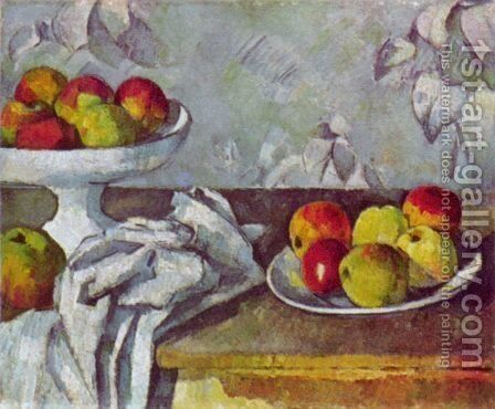 Still Life With Apples And Fruit Bowl Painting By Paul Cezanne