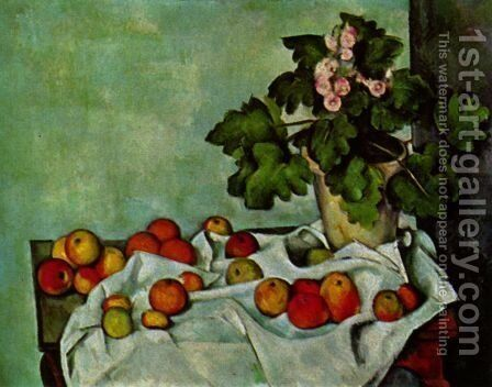 Still life, geranium stick with fruits by Paul Cezanne - Reproduction Oil Painting
