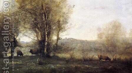 Pond with Three Cows (also known as Souvenir of Ville d'Avray) by Jean-Baptiste-Camille Corot - Reproduction Oil Painting
