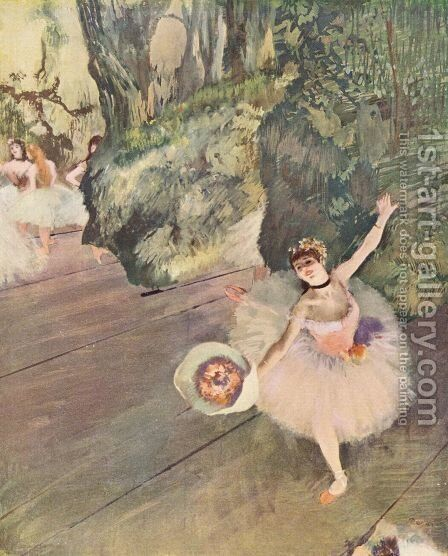 Dancer with bouquet by Edgar Degas - Reproduction Oil Painting