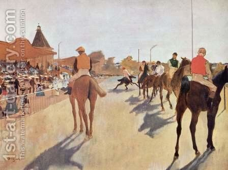 Jockeys before the tribune by Edgar Degas - Reproduction Oil Painting
