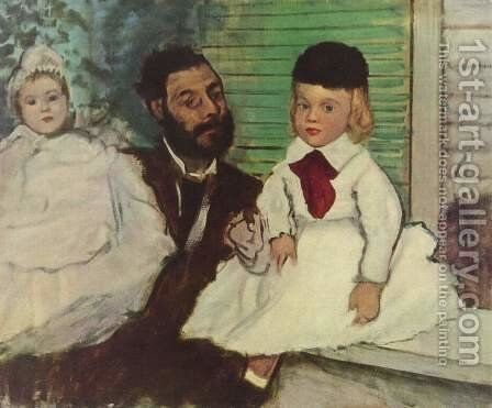 Portrait of Grafen Lepic and Töchter by Edgar Degas - Reproduction Oil Painting