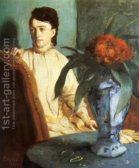 Portrait of Mlle. E. Musson by Edgar Degas - Reproduction Oil Painting
